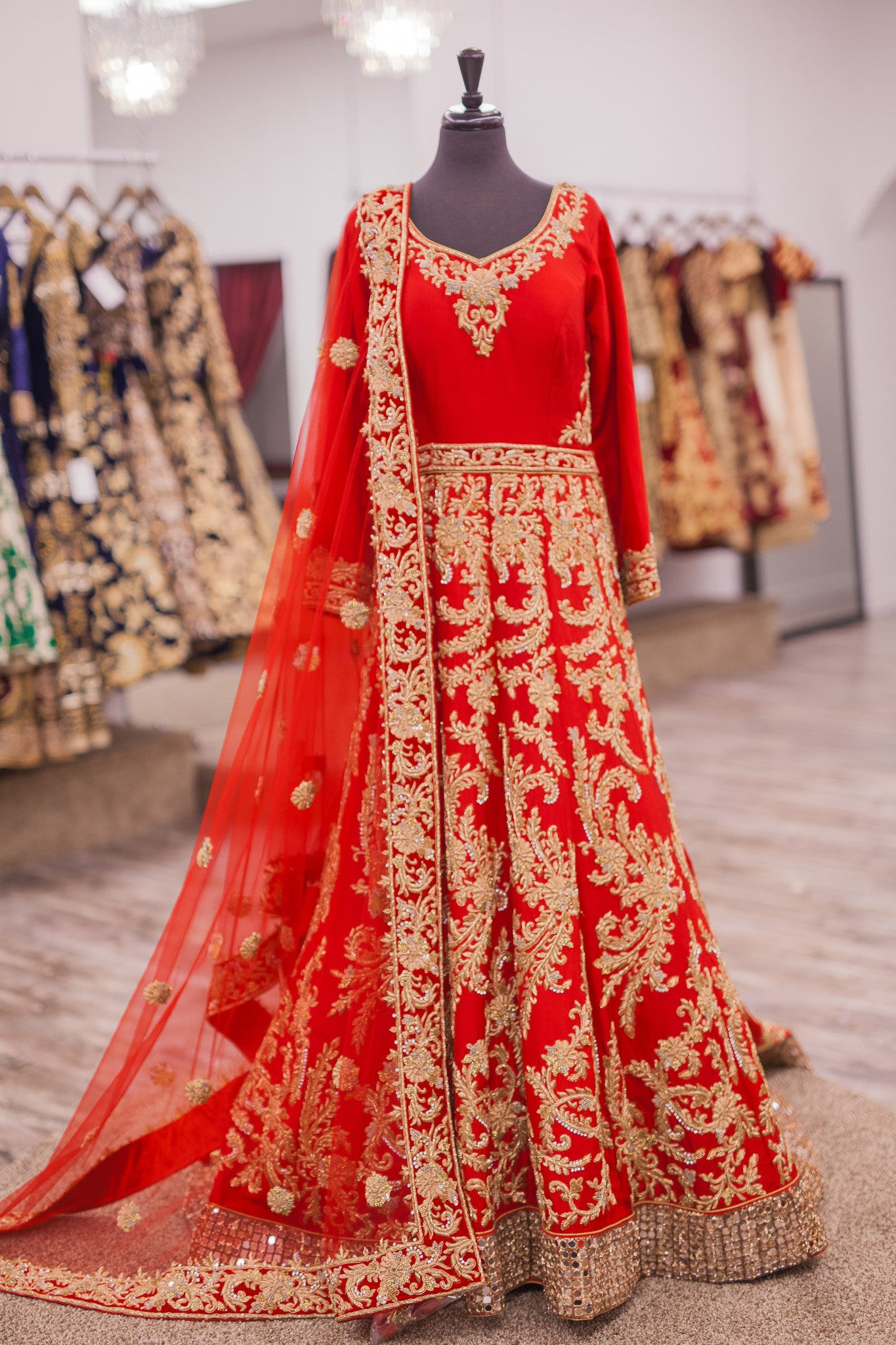 Red Bridal Anarkali with a Train