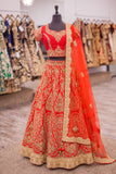 Crimson Red Raw Silk Lengha