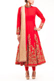 Red High Neck French Silk Bridal Anarkali