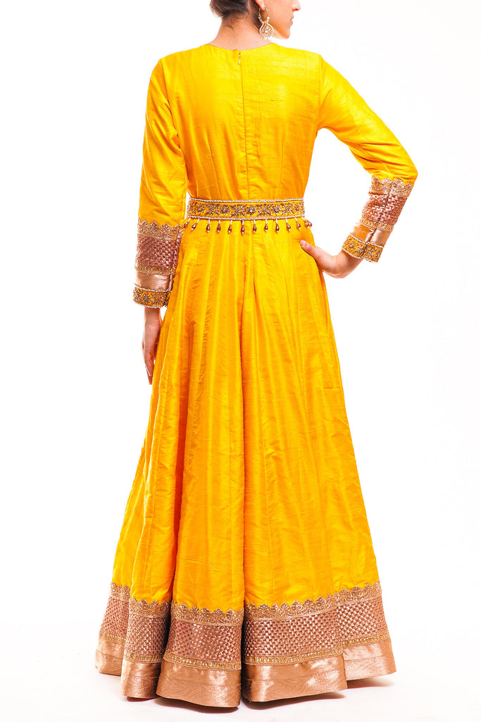 Marigold Yellow Raw Silk Anarkali With Detachable Belt