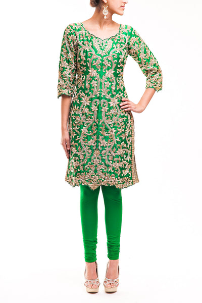 Green Fully Embroidered Pajami Suit