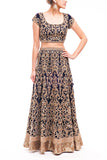 Midnight Blue Velvet Reception Lehenga