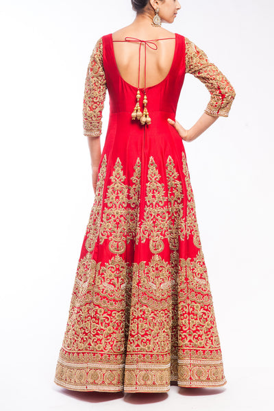 Deep Red Zardozi Embroidered Bridal Anarkali