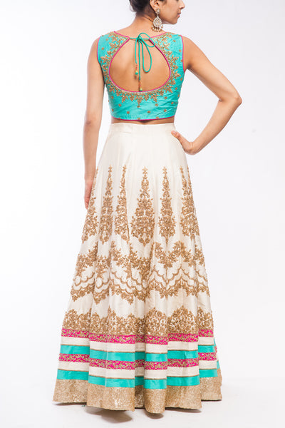 Off White - Turquoise Green Lehenga