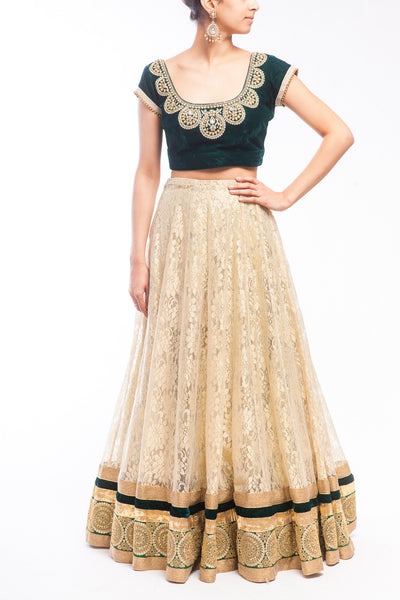 Bottle Green Velvet Top - Champagne Gold Chantilly Lace Lehenga