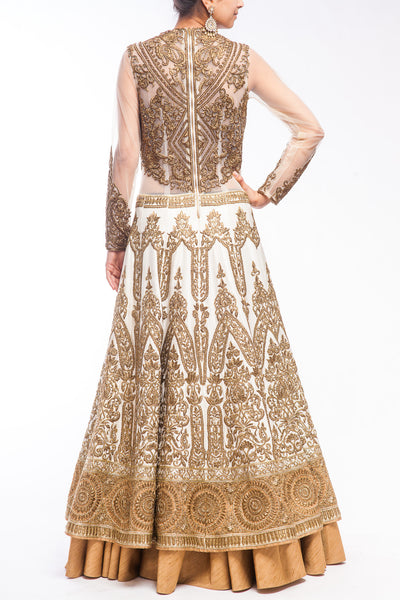 Off White Fully Embroidered Two tiered Lacha Gown