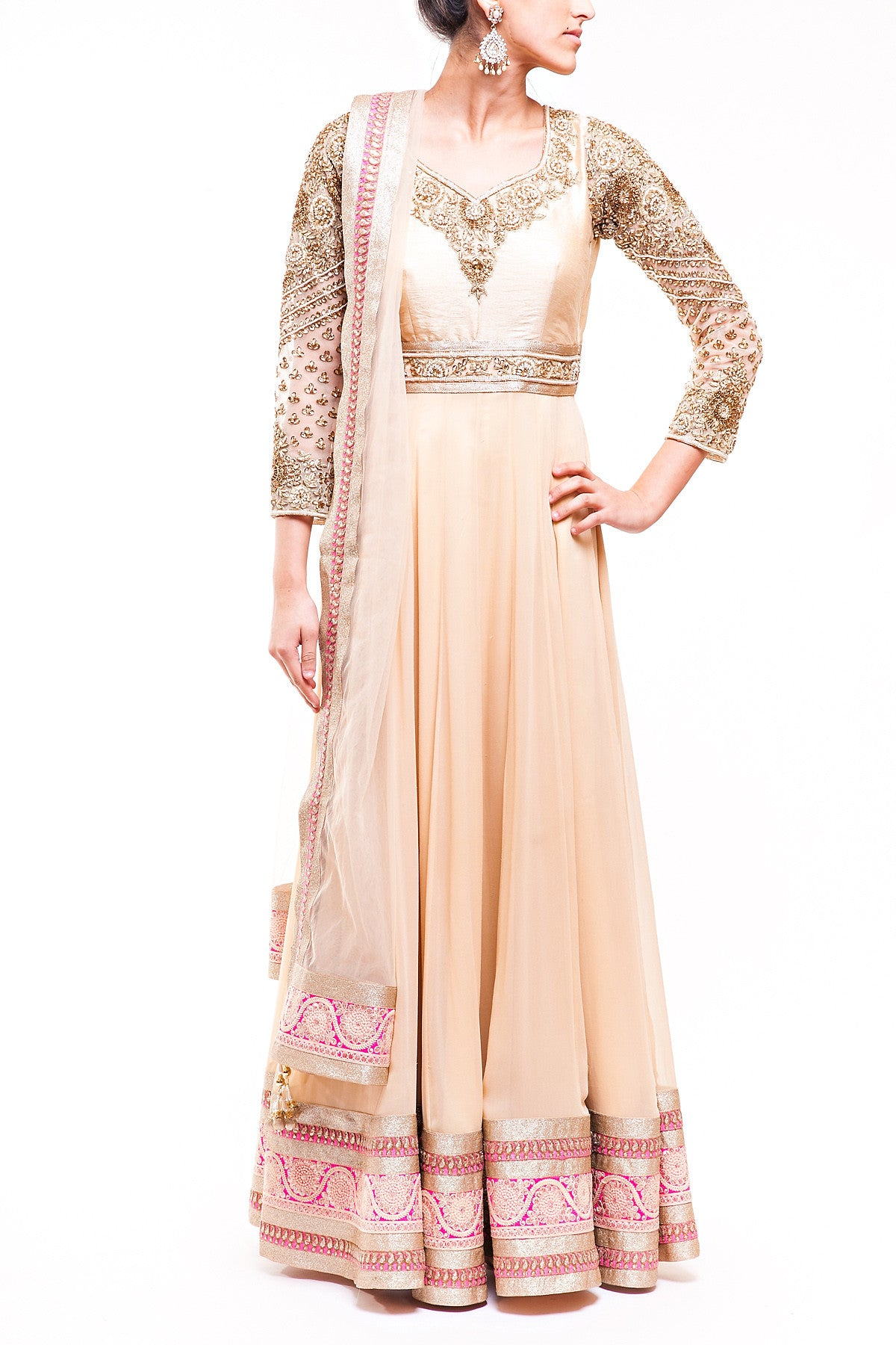 Gold Pure Georgette Anarkali With Heavy Sleeve Embroidery