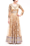 Gold Chantilly Lace Anarkali With Heavy Sleeve Embroidery