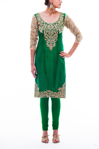 Green Raw Silk Pajami Suit