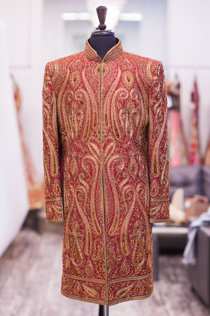 Fully Embroidered Maroon Raw Silk Sherwani