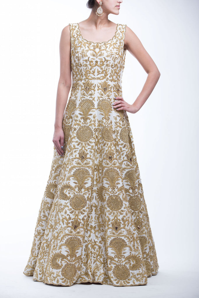 Off White - Gold Topaz Embroidery Reception Gown