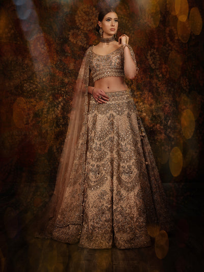 Rosegold Scalloped Pattern Lehenga
