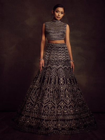 Midnight Blue High Neck Reception Lehenga
