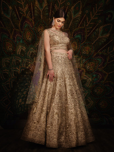 Taupe Zardozi Work Reception Lehenga