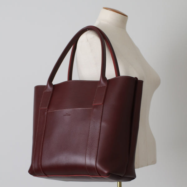 The 'Ready Made' Grace Classic Leather Tote Bag - Pebbled Burgundy