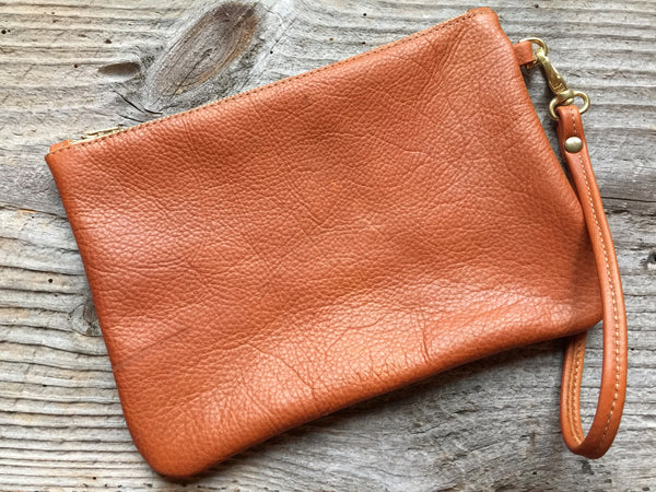 Large Leather Zippered Pouch - Old English