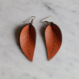 Drop Leaf Leather Earrings