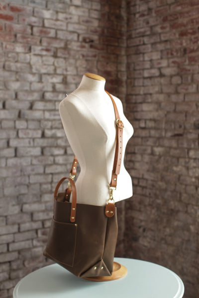 The Alex Leather Tote - Olive Tan - Bag - Maycomb Mercantile - 8