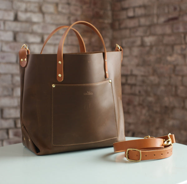 The Alex Leather Tote - Olive Tan - Bag - Maycomb Mercantile - 2