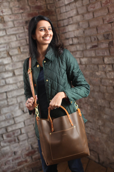 The Alex Leather Tote - Olive Tan - Bag - Maycomb Mercantile - 3