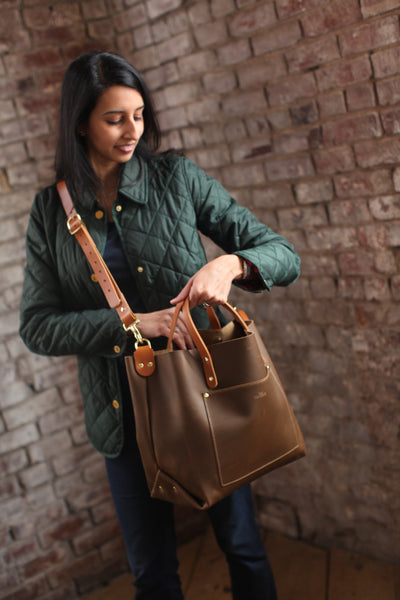 The Alex Leather Tote - Olive Tan - Bag - Maycomb Mercantile - 4
