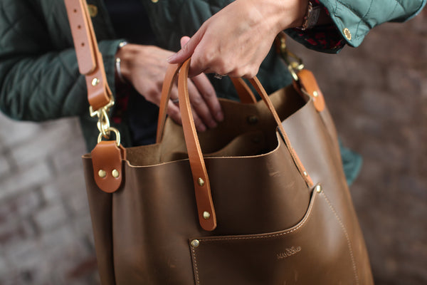 The Alex Leather Tote - Olive Tan - Bag - Maycomb Mercantile - 6