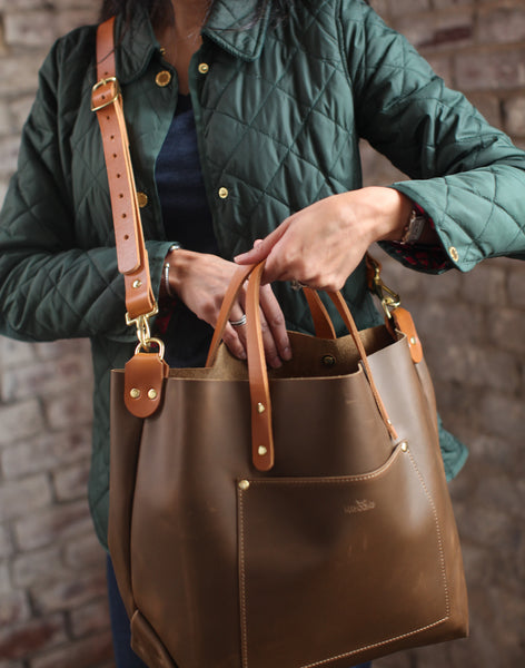 The Alex Leather Tote - Olive Tan - Bag - Maycomb Mercantile - 7