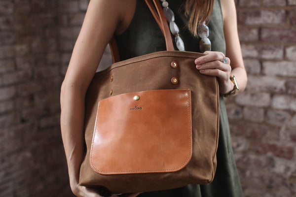 The Jayne Waxed Canvas and Leather Tote - Bag - Maycomb Mercantile - 12