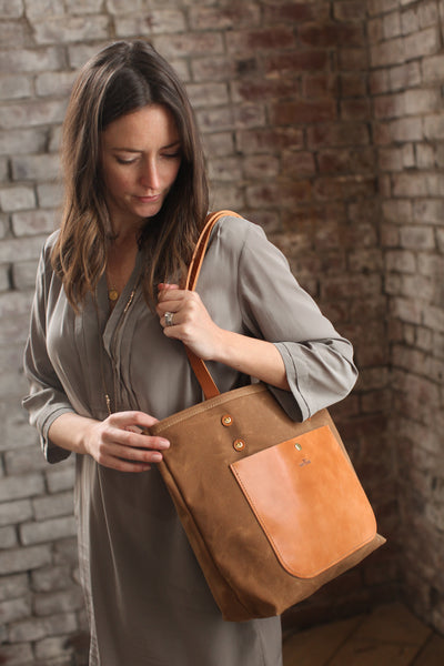 The Jayne Waxed Canvas and Leather Tote - Bag - Maycomb Mercantile - 15