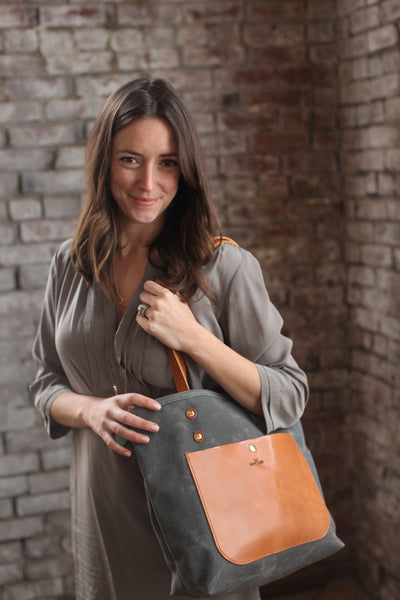 The Jayne Waxed Canvas and Leather Tote - Bag - Maycomb Mercantile - 17