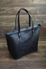 The Scout Classic Leather Tote - Black & Shell Pink - Bag - Maycomb Mercantile - 1