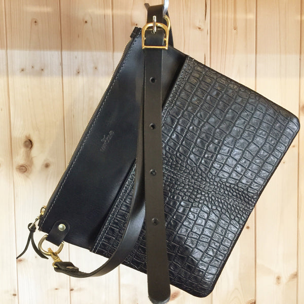 The Emma Crossbody - Black Gator Embossed