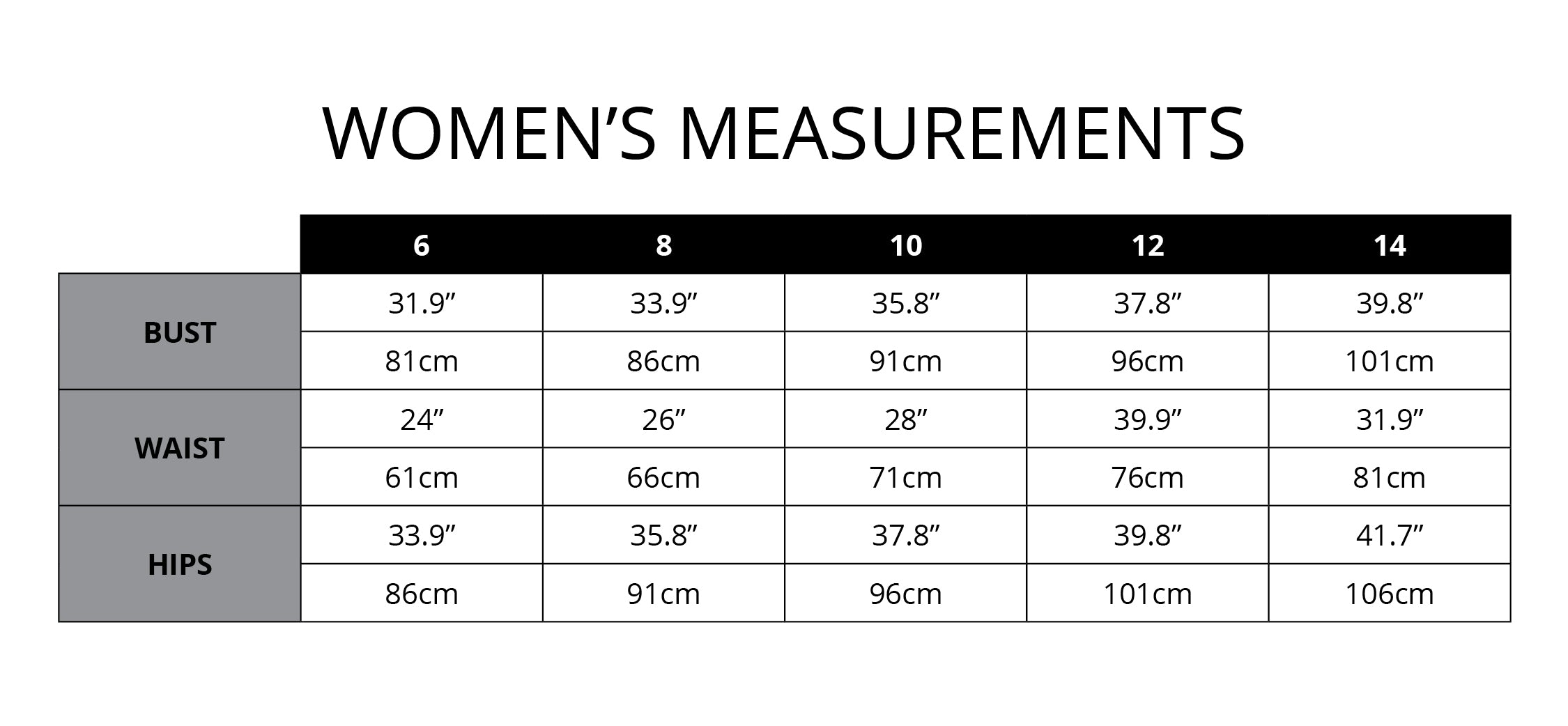 Bad Betty NZ Size Guide