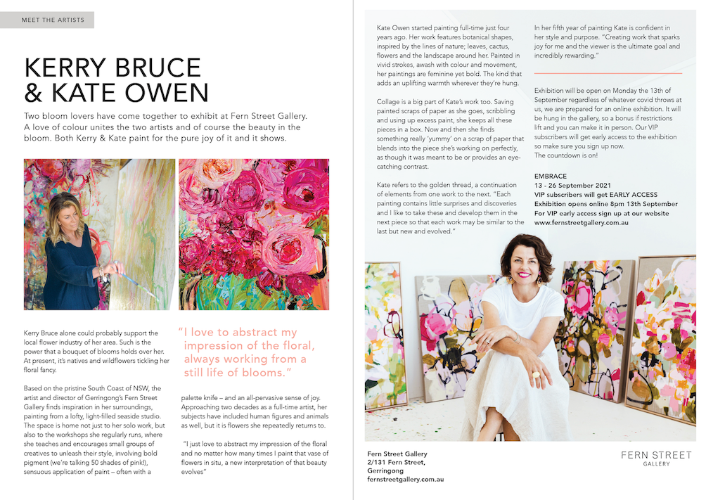 Article about Kerry Bruce and Kate Owen in Kiama and Area Focus Magazine