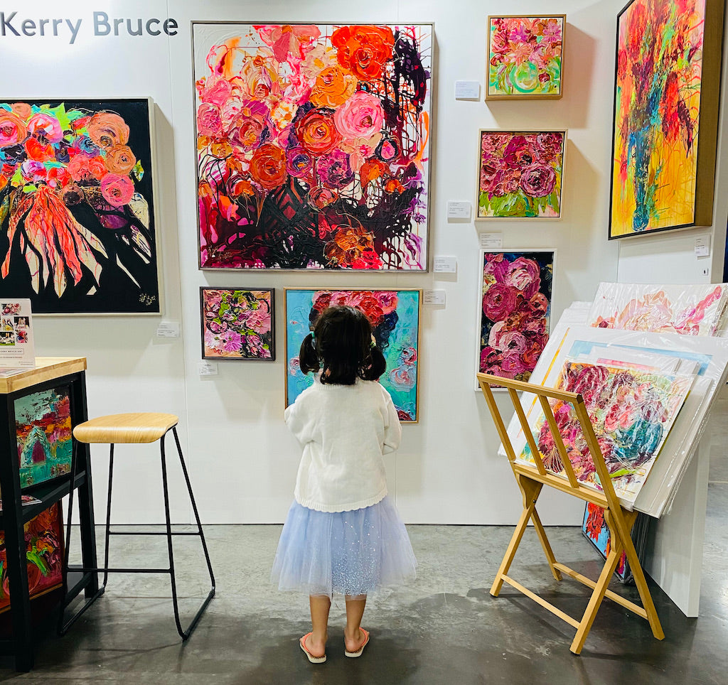 Young admirer of Kerry Bruce Art at The Other Art Fair (TOAF) Sydney 2021