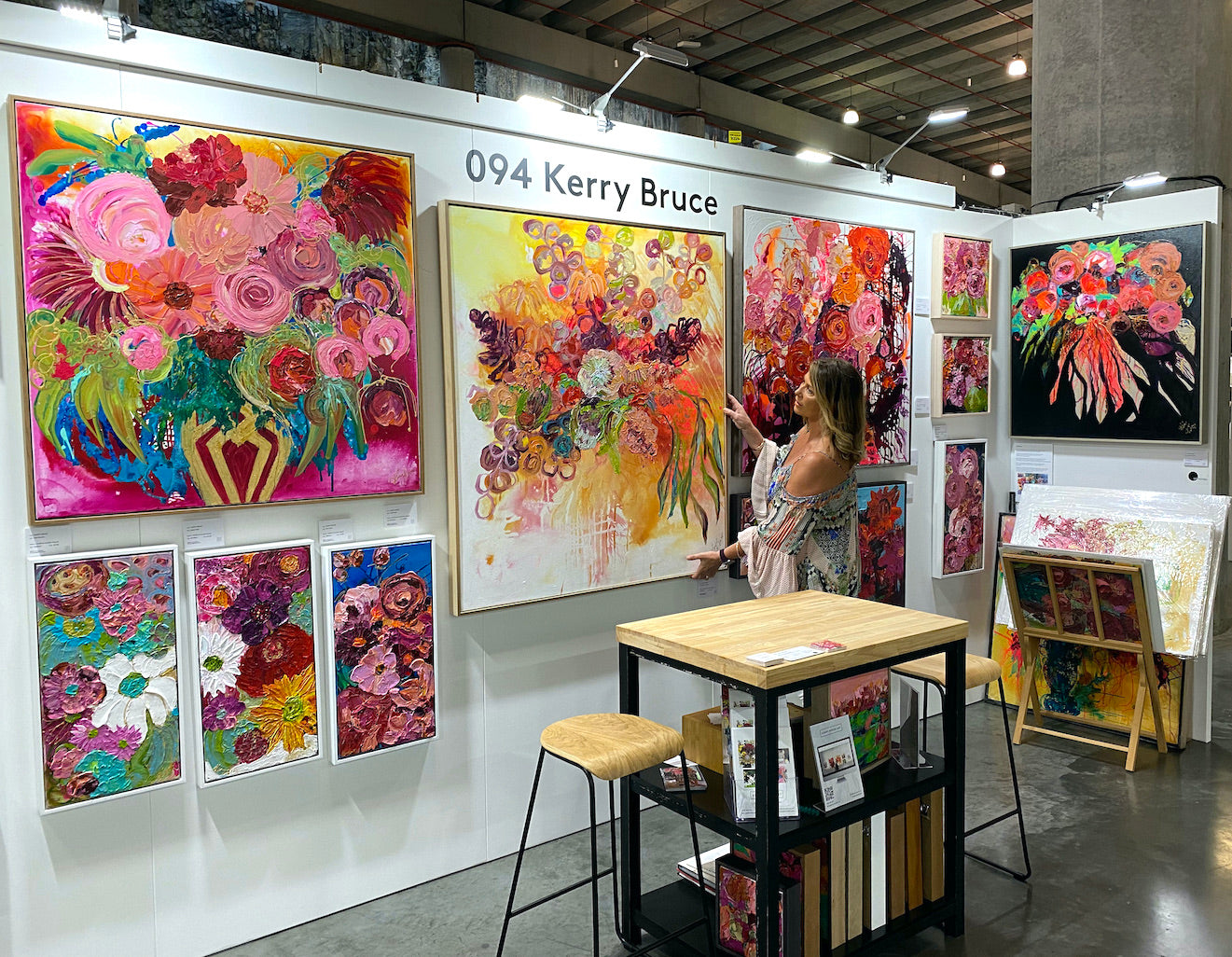 Kerry Bruce adjusting an artwork at The Other Art Fair Sydney March 2021