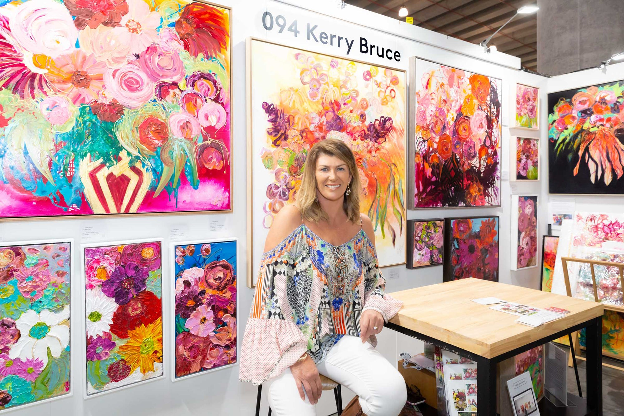 Kerry Bruce in her stand at The Other Art Fair (TOAF) Sydney 2021