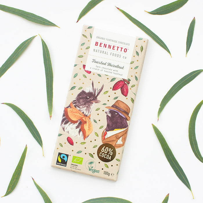 Toasted Hazelnut - Fair Trade, Vegan, Gluten-Free Chocolate by Bennetto, Songbird Australia