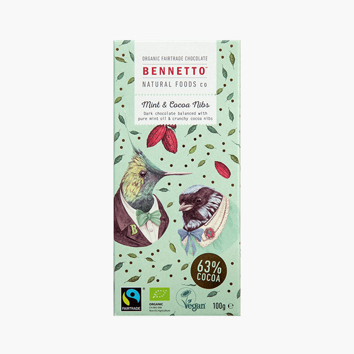 Fair Trade, Vegan, Gluten-Free Chocolate - Mint & Cocoa Nibs by Bennetto, Songbird Australia