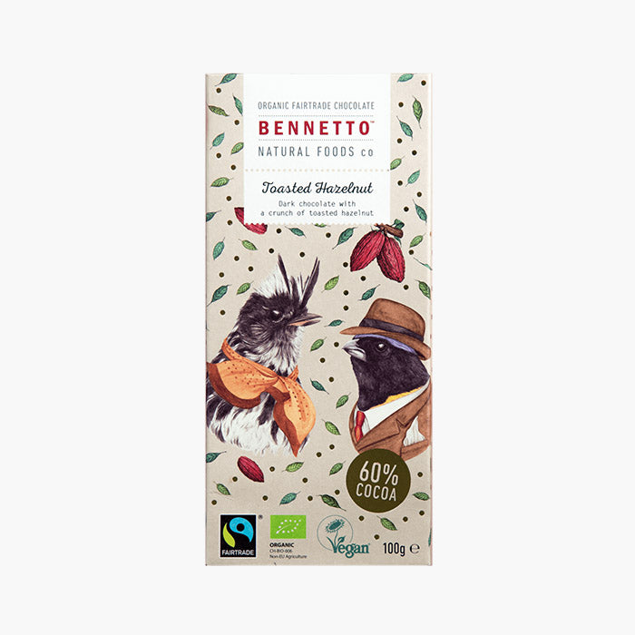 Fair Trade, Vegan, Gluten-Free Chocolate - Toasted Hazelnut by Bennetto, Songbird Australia