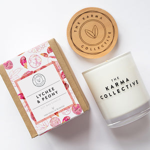 Lychee & Peony Soy Wax Candle by The Karma Collective