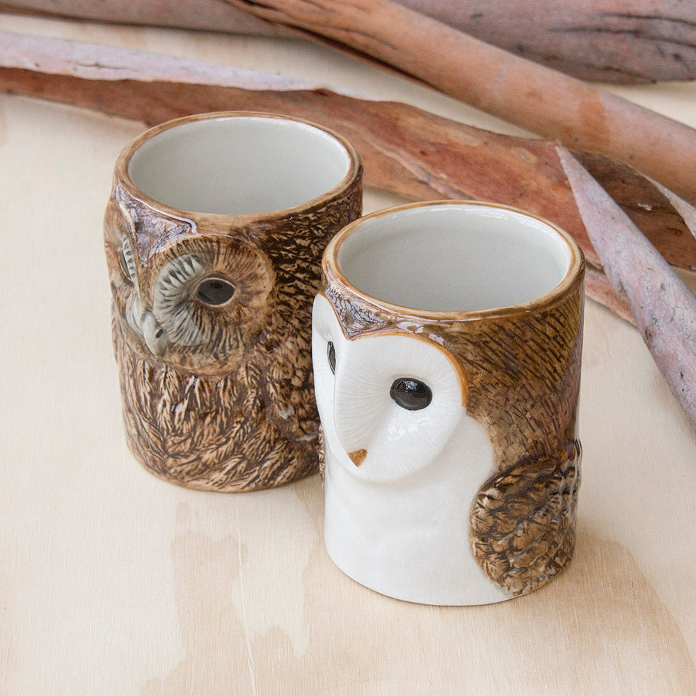 Tawny Owl & Barn Owl Pencil Pot by Quail Ceramics UK, Songbird Collection Australia, Kitchen, Dining, Gifts, Birds