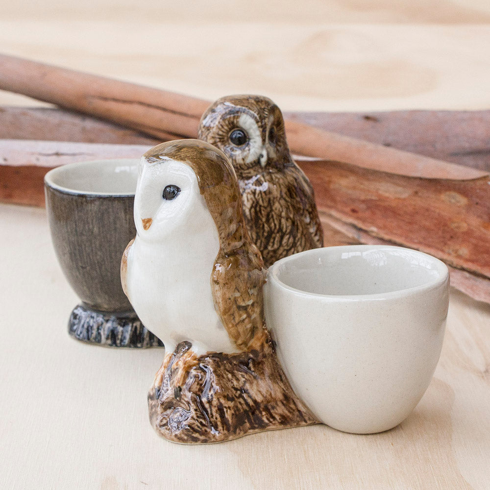 Barn Owl & Tawny Owl Egg Cup by Quail Ceramics UK, Songbird Collection Australia, Kitchen, Dining, Gifts, Birds