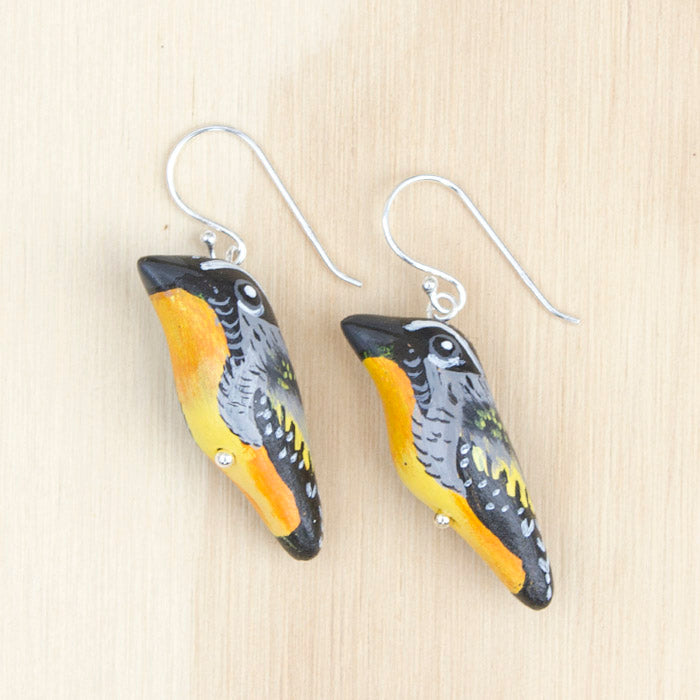 Spotted Pardalote Earrings, Designed in Australia, Handmade in Thailand. Songbird Collection