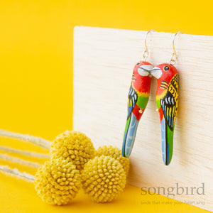 Eastern Rosella Earrings, Songbird Collection Australia, Gifts, Jewellery & Accessories for lovers of birds and beautiful things.