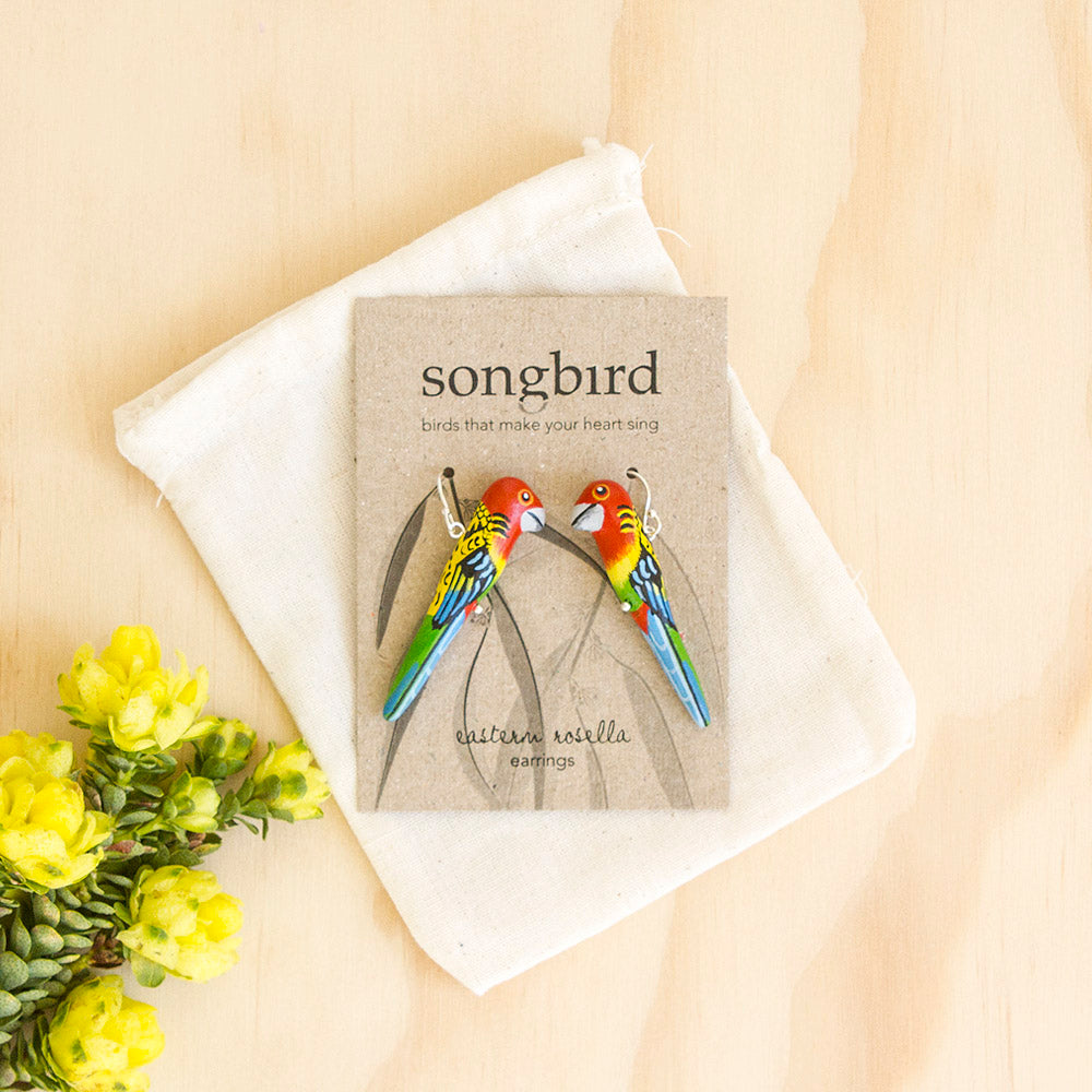 Eastern Rosella Earrings, Ethically Handmade Jewellery, Songbird Australia