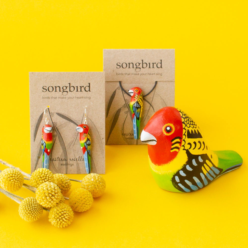 Eastern Rosella Earrings, Whistle Necklace and Paperweight Whistle Songbird Collection Australia, Gifts, Jewellery & Accessories for lovers of birds and beautiful things.