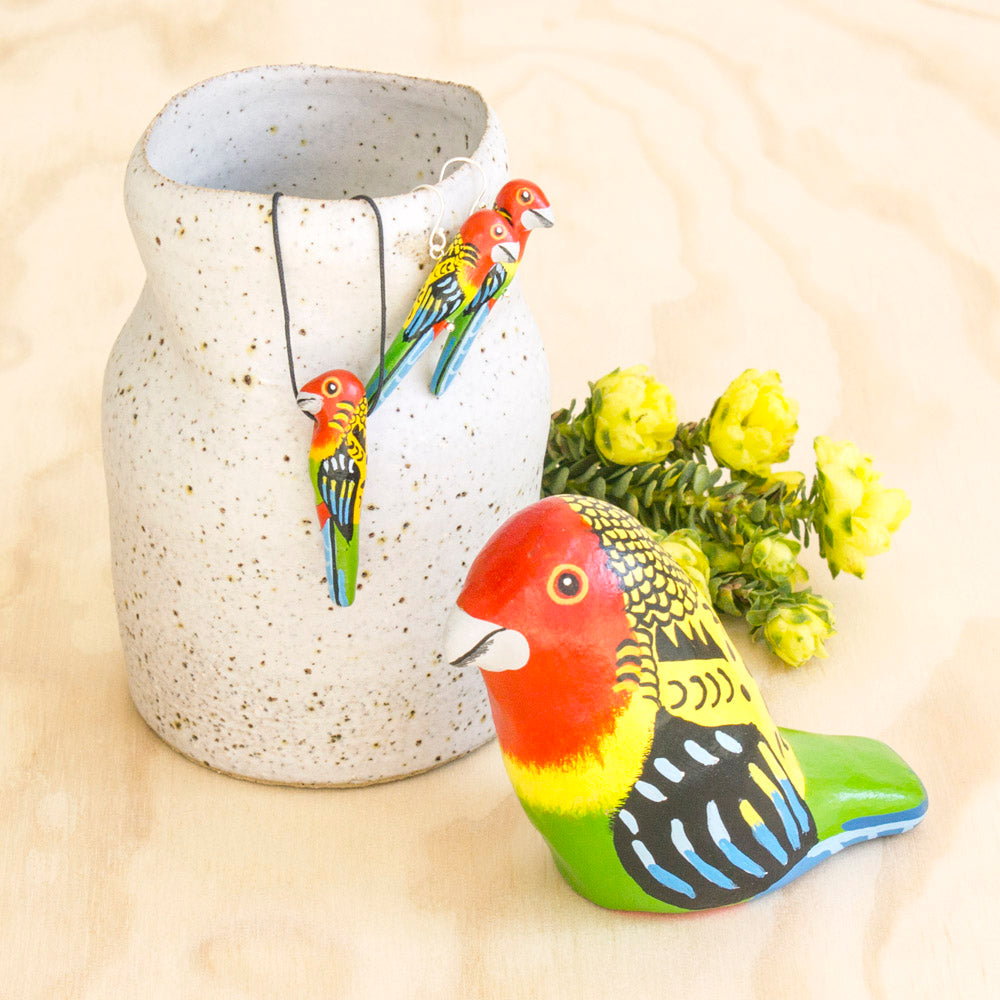 Eastern Rosella Whistle Necklace, Earrings, & Paperweight Whistle , Australian Bird Gift Souvenir