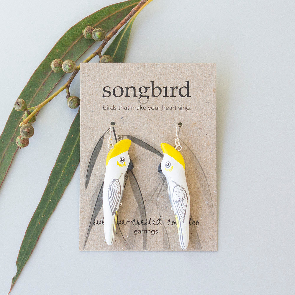 Sulphur-Crested Cockatoo Earrings, Jewellery & Gifts for lovers of birds and beautiful things, Songbird Collection Australia