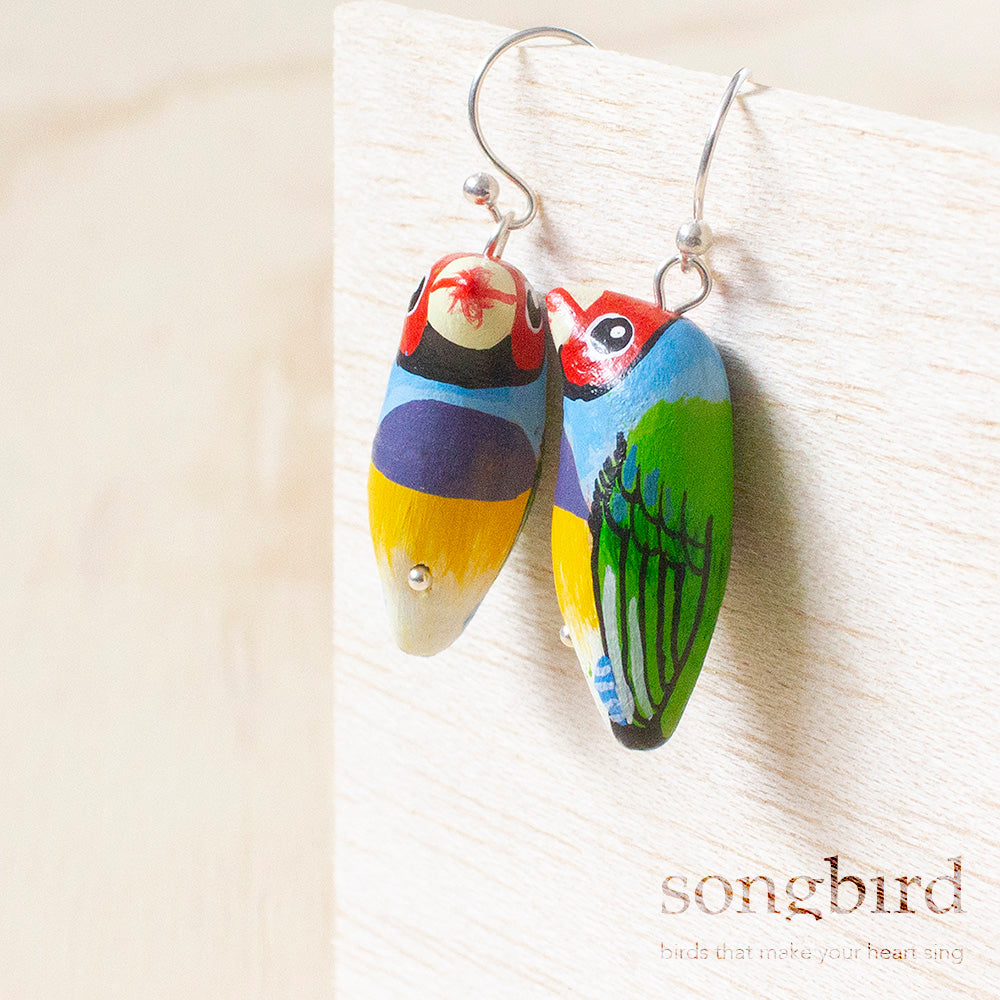 Gouldian Finch Earrings, Jewellery & Gifts for Bird Lovers, Songbird Collection Australia